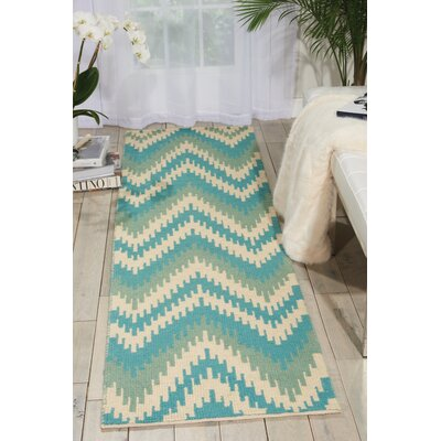 Poinciana Hand-Woven Wool Ivory/Blue Area Rug Rug Size: Runner 23 x 8