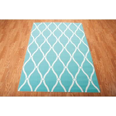 Astrid Aqua Indoor/Outdoor Area Rug Rug Size: Rectangle 53 x 75
