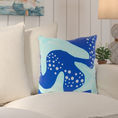 Chaucer Striking Series of Starfish Outdoor Throw Pillow Size: 20 H x 20 W x 4 D, Color: Cobalt/Sea Foam