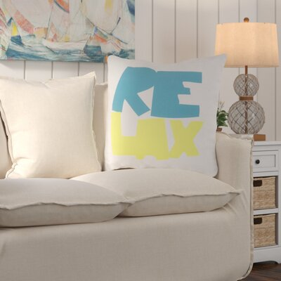 Chaucer Just Relax Outdoor Throw Pillow Size: 26 H x 26 W x 4 D, Color: Aqua/Lime