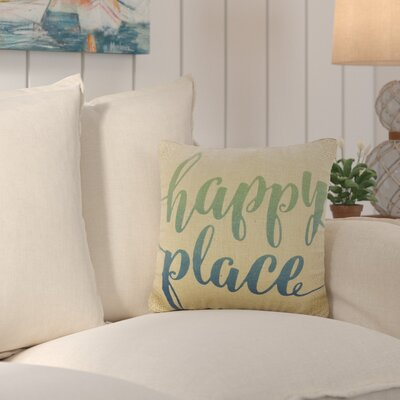 Fruitland Happy Place Burlap Throw Pillow