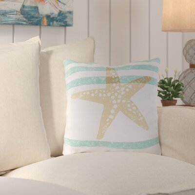 Chaucer Stripes And Starfish Outdoor Throw Pillow Size: 18 H x 18 W x 4 D
