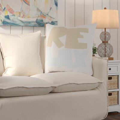 Chaucer Just Relax Outdoor Throw Pillow Size: 18 H x 18 W x 4 D, Color: Taupe/Sky Blue