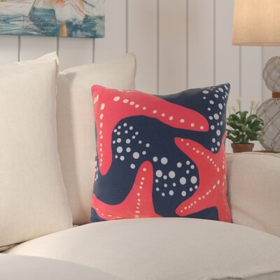 Chaucer Striking Series of Starfish Outdoor Throw Pillow Size: 26 H x 26 W x 4 D, Color: Coral/Cobalt