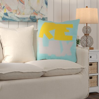 Ruthar Just Relax Outdoor Throw Pillow Color: Sunflower/Sky Blue, Size: 18 H x 18 W x 4 D