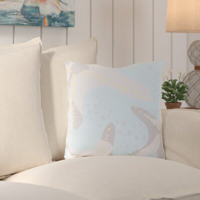 Chaucer Striking Series of Starfish Outdoor Throw Pillow Size: 18 H x 18 W x 4 D, Color: Sky Blue/Light Gray