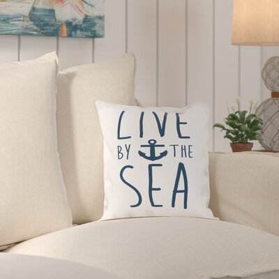 Cumberland Navy Live by the Sea Outdoor Throw Pillow Size: 16 H x 16 W x 2 D