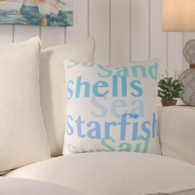 Chaucer Striking Sea ed Outdoor Throw Pillow Size: 18 H x 18 W x 4 D, Color: Teal/Sky Blue