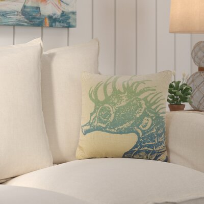 Fruitland Seahorse Ombre Burlap Throw Pillow