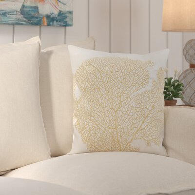 Spice Fan Coral Indoor / Outdoor Euro Pillow Color: Gold / Cr�me