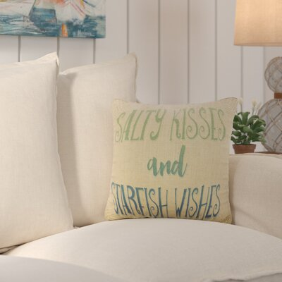 Dickenson Starfish Wishes Burlap Throw Pillow