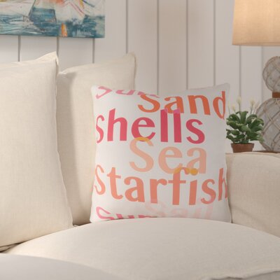 Chaucer Striking Sea ed Outdoor Throw Pillow Size: 20 H x 20 W x 4 D, Color: Coral/Orange
