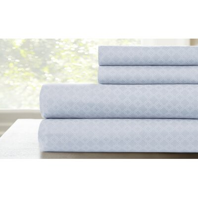 Coyne Printed Lattice Sheet Set Color: Blue, Size: King