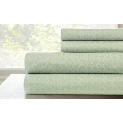 Lauder Printed Lattice Sheet Set Color: Sage, Size: Full