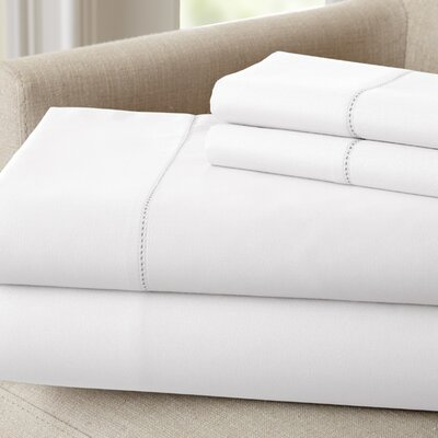 Holmes 400 Thread Count Cotton Sheet Set Size: Queen, Color: White
