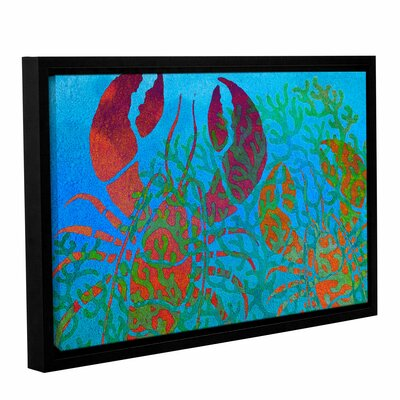 'Lobs in Seaweed' Framed Graphic Art on Wrapped Canvas Size: 12