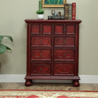 Maguire 8 Drawer Chest Finish: Red