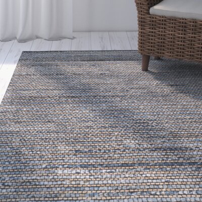 Abia Dark Blue/Tan Area Rug Rug Size: 6 x 9