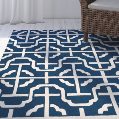 Whittenburg Cobalt/White Area Rug Rug Size: Rectangle 86 x 116