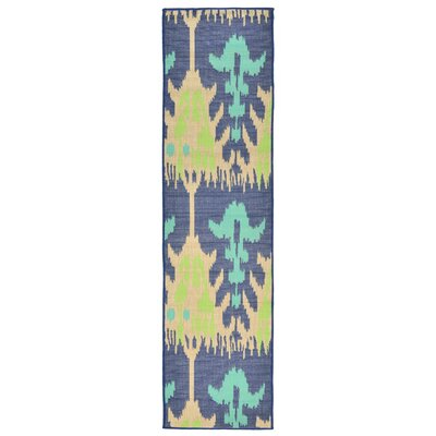 Coeur Blue/Beige Indoor/Outdoor Area Rug Rug Size: Runner 111 x 76