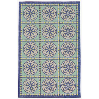 Coeur Blue Tile Indoor/Outdoor Area Rug Rug Size: 33 x 411