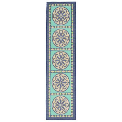 Coeur Blue Tile Indoor/Outdoor Area Rug Rug Size: Runner 111 x 76