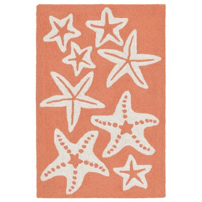 Claycomb Hand-Tufted Coral Indoor/Outdoor Area Rug Rug Size: 2 x 3