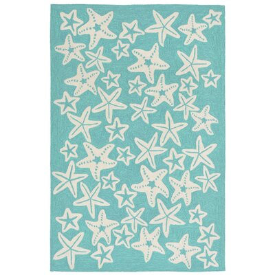 Tannis Hand-Tufted Aqua Indoor/Outdoor Area Rug Rug Size: 36 x 56