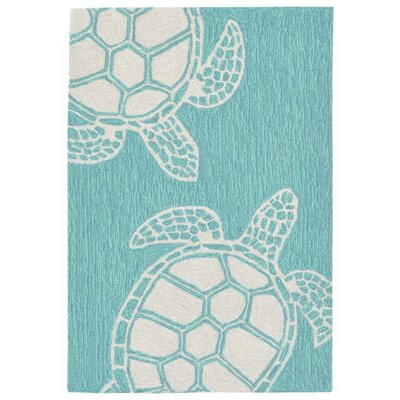 Claycomb Hand-Tufted Aqua Wool Indoor/Outdoor Area Rug Rug Size: 2 x 3