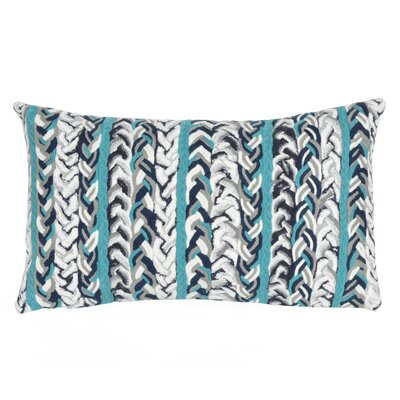 Eliza Braided Stripe Indoor/Outdoor Lumbar Pillow Color: Blue