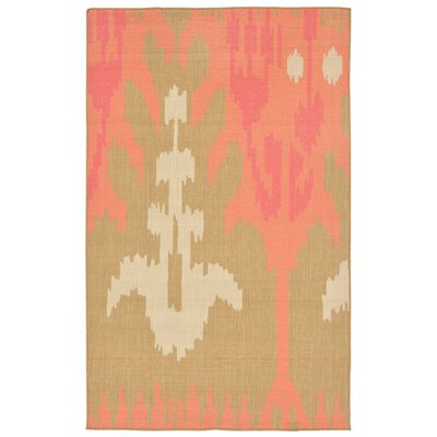 Maile Ikat Pink/Green Indoor/Outdoor Area Rug Rug Size: 33 x 411
