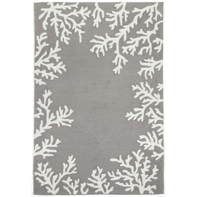 Tannis Coral Border Silver Indoor/Outdoor Area Rug