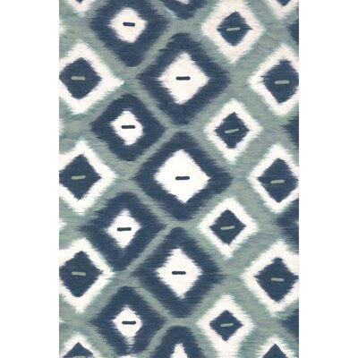 Cromwell Aqua Ikat Diamonds Indoor/Outdoor Area Rug Rug Size: 5 x 8