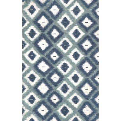 Cromwell Aqua Ikat Diamonds Indoor/Outdoor Area Rug Rug Size: 36 x 56