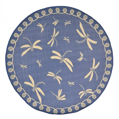 Clatterbuck Blue Dragonfly Indoor/Outdoor Area Rug Rug Size: Round 710