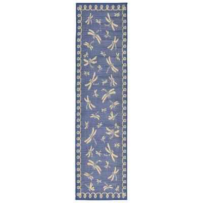 Clatterbuck Blue Dragonfly Indoor/Outdoor Area Rug Rug Size: Runner 111 x 76