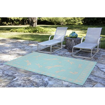 Roselawn Dragonfly Blue/Beige Indoor/Outdoor Area Rug Rug Size: 111 x 211