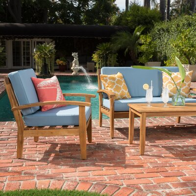 Juno 4 Piece Wooden Seating Group with Cushion Fabric: Blue