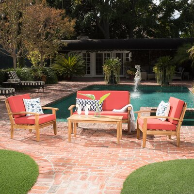 Clayton 4 Piece Wooden Seating Group with Cushion Fabric: Red