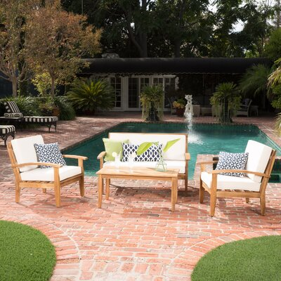 Juno 4 Piece Wooden Seating Group with Cushion Fabric: Beige