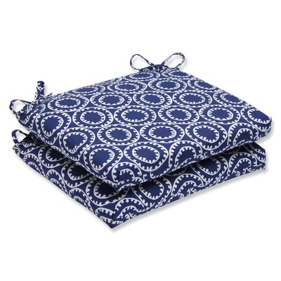 Averie Outdoor Dining Chair Cushion Set of 2 Fabric: Navy
