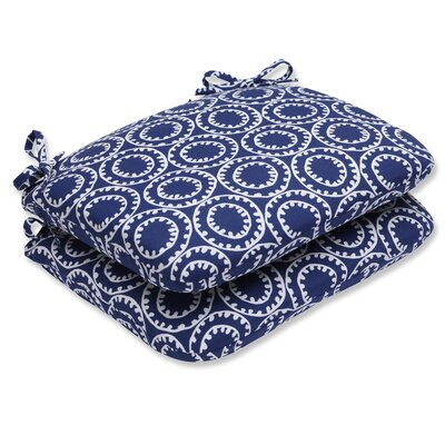 Averie Pattern Outdoor Dining Chair Cushion Fabric: Navy
