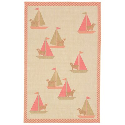Kona Sailing Dogs Beige Indoor/Outdoor Area Rug Rug Size: 111 x 211