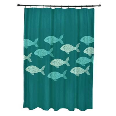 Cedarville Polyester Fish Line Coastal Shower Curtain Color: Teal