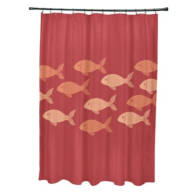 Cedarville Polyester Fish Line Coastal Shower Curtain Color: Coral