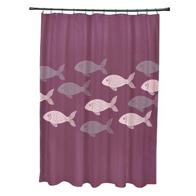 Rocio Polyester Fish Line Coastal Shower Curtain Color: Purple