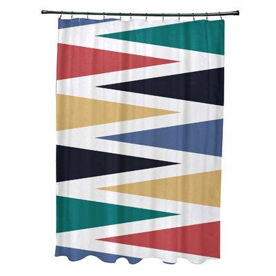 Boubacar Polyester Backgammon Geometric Shower Curtain Color: Navy Blue