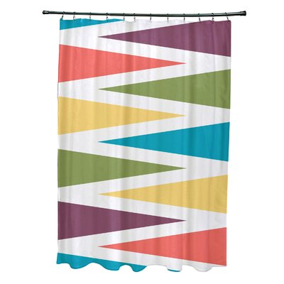 Boubacar Polyester Backgammon Geometric Shower Curtain Color: Turquoise