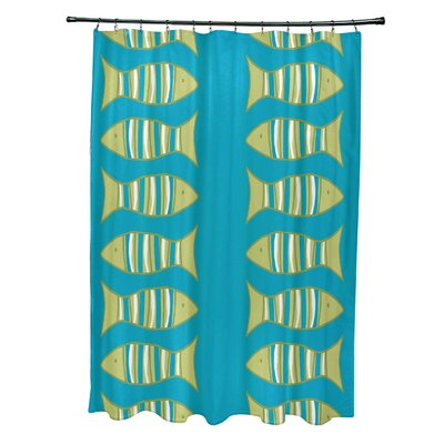 Rocio Polyester Somethings Fishy Coastal Shower Curtain Color: Turquoise