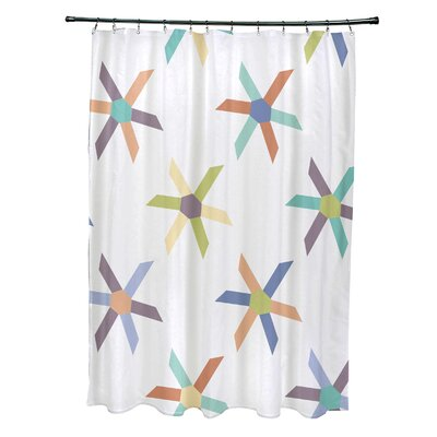 Cedarville Polyester Pinwheel Geometric Shower Curtain Color: Lavender